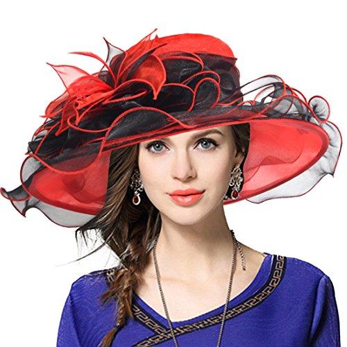 Damen Kirche Derby Kleid Fascinator Braut Mütze Britischer Tee Party Hochzeit Sonnenhüte (42b-Rot) (Roter Hut Damen)