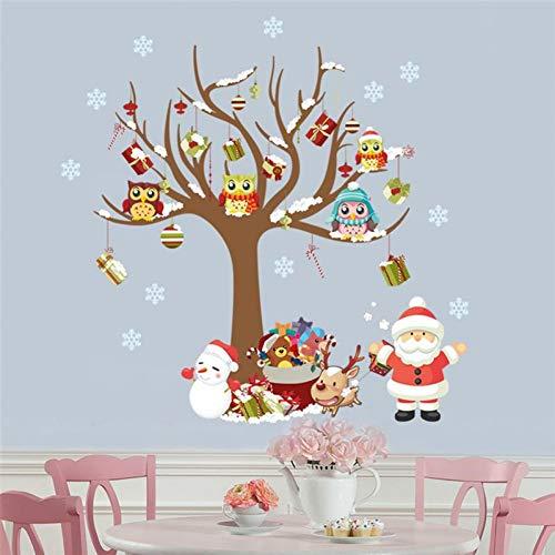 OLDTIEA Wandaufkleber Wanddekoration Cartoon Eulen Auf Baum Frohe Weihnachten Wand Aufkleber Für Shop Kinder Room Home Dekoration Santa Claus Festival Wandbild Kunst Weihnachten Decals