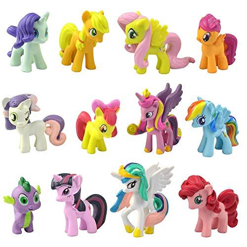 Little Pony Figuren Set, Eisblüre, ca. 3,8-5,1 m hohe Pony-Figur, Spielzeug für Kinder, Cupcake-Topper, 12 Stück