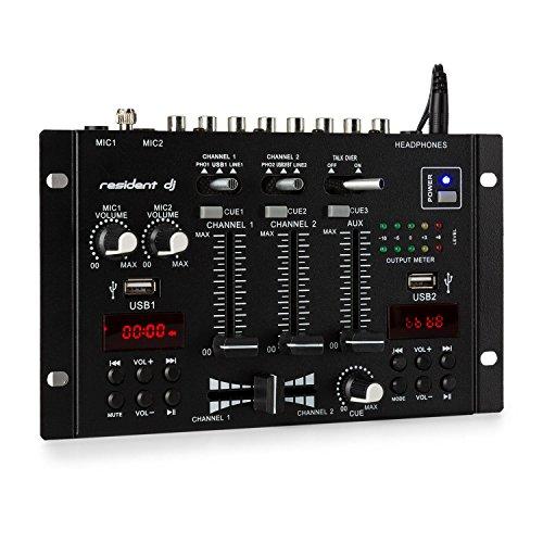 Resident DJ 22BT 2CH Mixer • 3/2-Kanal-DJ-Mischpult • 2 x USB-Port • 3 x 6,3 Klinke • Bluetooth • Frequenzgang: 20Hz-20kHz ± 2 dB •160 Ohm Impedanz • 2 Displays - Usb-controller Mixer