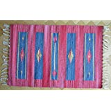 Rojo y azul Algodón Alfombra Kilim tejido a mano estilo tradicional ox-1, Varios Colores, 60x200