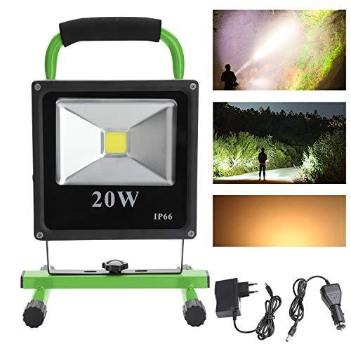 VINGO® 20W LED Warmweiß Grün Camping Lampe Strahler IP65 mit Ständer Arbeitsleuchte Tragbare Baustrahler Akku Fluter Handlamp