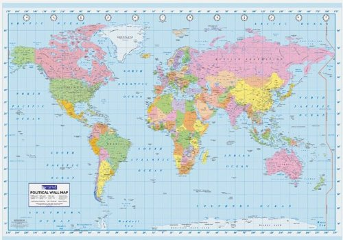 GIANT PAPER PYR Political Map Of The World Poster 99.06 es cm, 140 x 100 cm -