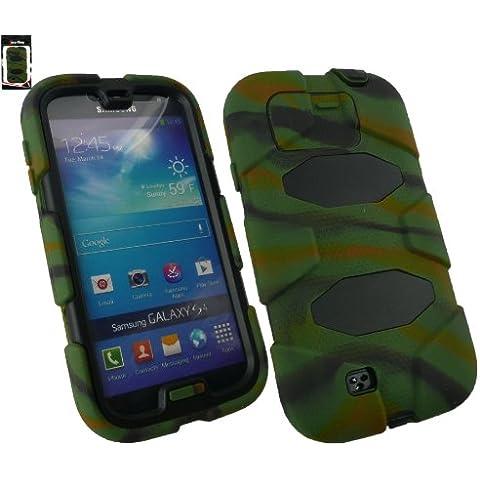 Emartbuy® Samsung Galaxy I9500 Camouflage S4 Dual Layer Impact Protection Caso / Custodia / Pelle