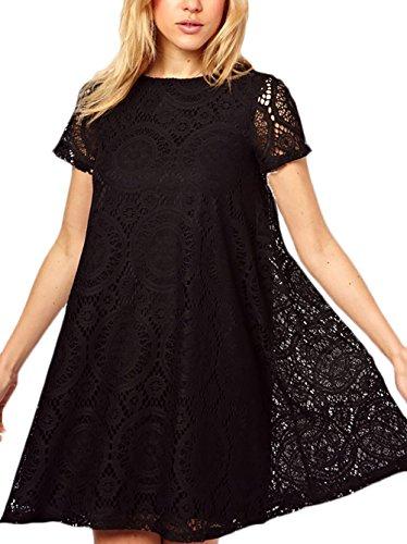 Donna vestiti in pizzo estivi eleganti da cerimonia taglie forti vintage camicia vestito linea ad a swing maniche corte abito ricamo fiori casuale tunica abiti mini dress