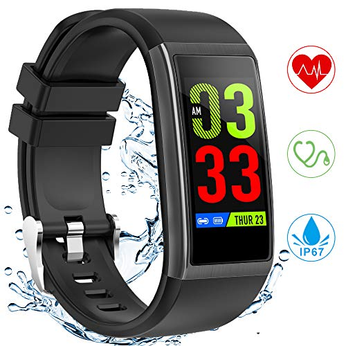 nd, Fitness Tracker mit Pulsmesser Blutdruckmessung, 1.14 Zoll Farbbildschirm IP67 Wasserdicht Smartwatch Schrittzähler Uhr Smart Watch Android iOS Damen Herren Kinder ()