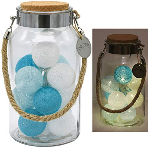 Dekovita Linterna de vidrio 30cm con Tronje 10 LED Bolas de Algodón Luces Cadena de Luz 4h Temporizador Turquesa-Azul