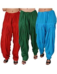 ROOLIUMS ® (Brand Factory Outlet) Punjabi Patiala Salwar Combo 3 - Free Size (Red, Dark Green, Sky blue)