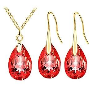 Gold und Rot Kristall Mandel Schmuck-Set Ohrhänger Halskette Anhänger S746