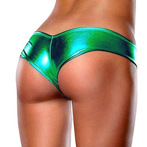 iEFiEL Damen Stringtanga Wetlook string tanga Lack-Optik Unterwäsche Panty Panties Tanga Micro String Hotpants Dunkel Grün