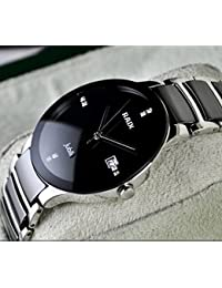 RADO High Quality Fashionable Ceramic Watch, Stainless Steel Day And Date Silver+Black Strap Color Dial Analog...