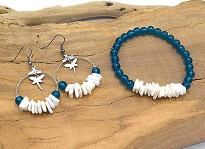 ETHNICFEATHER - Bracelet et boucles oreilles en perle de jade bleu et chips de coquillage blanc, créoles acier inoxydable avec libellules, cadeau femme, parure de bijoux fait main