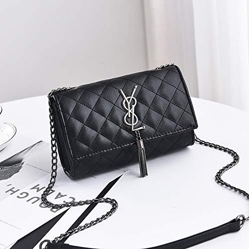 Ms. Zhu Damen Umhängetasche New Lingge Small Square Bag Europäische und amerikanische Mode Einfache Wild Classic Umhängetasche, Schwarz -