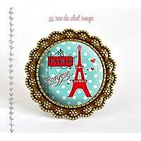 Anello Paris ! Bonjour ! turchese e rosso