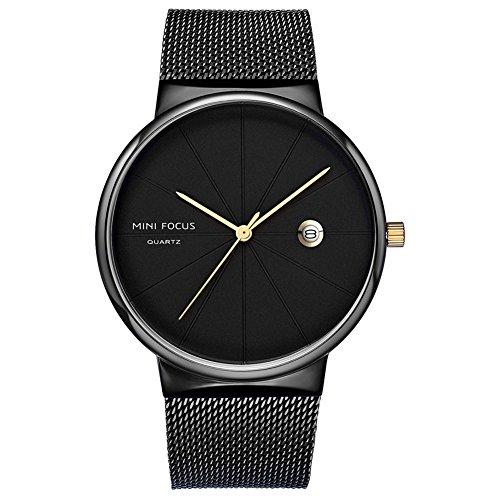 MINI FOCUS Men\'s Simple Edelstahl Quarz Business Watch Mode Datum Uhr,C