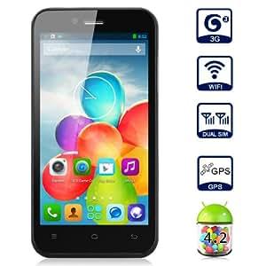 """ZOPO ZP600+ 4.3"""" écran Naked Eye 3D Smartphone Android 4.2 MTK6582 Quad Core 1G + 4G Dual Caméra 5.0MP & 2.0MP Dual SIM Carte - 3G, WIFI, GPS, OTG, E-compass – Noir - pour Orange, SFR, Bouygues, Free etc"""