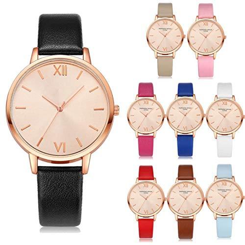 Altsommer Bunter Farben Lederarmband Uhren mit Roségold Zifferblatt,Frauen Uhr mit 24cm Bandlänge für Damen Herren Leder Armband,Quartz Analog Uhren,Casual Sport Lederarmband Uhr (Khaki)