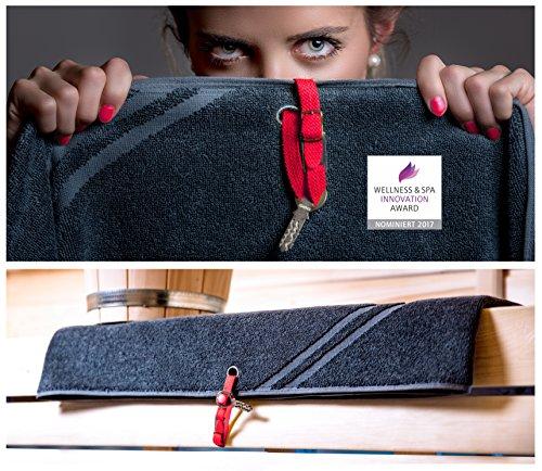 Primasauna®-Tuch DELUXE XXL mit Keyhole Grau (Anthrazit) 210x80 cm 550g/m² Zwirnfrottier - Saunatuch - Badetuch - Wellness - Innovation - Saunahandtuch