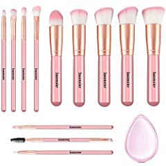 Idea Regalo - Pennelli Make Up Insomnier 12 pz manico in legno cosmetici Brush set Eyeshadow correttore labbro sopracciglio fondazione spazzole per polvere liquido crema con spugna in silicone (rosa)