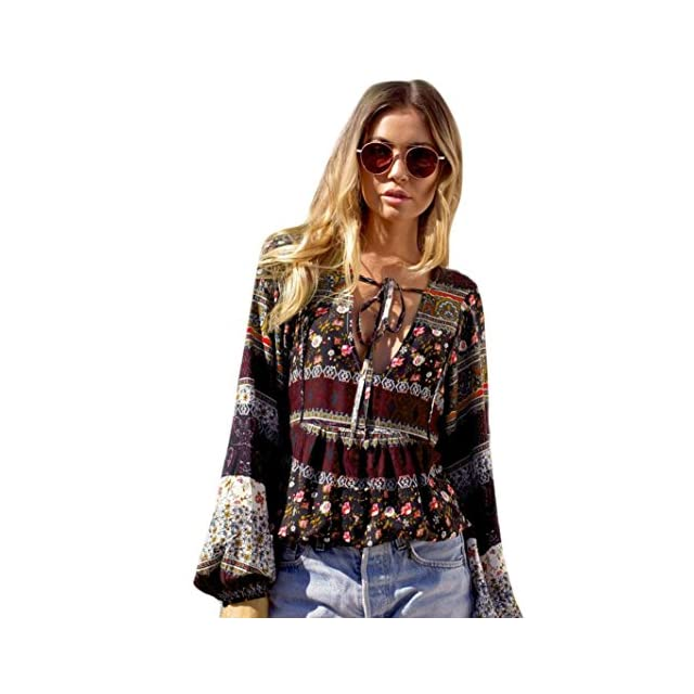 2e047cff5290 Manadlian T-Shirt Femmes, Femmes BohèMe Manches Longues Blouse Casual  T-Shirt ...