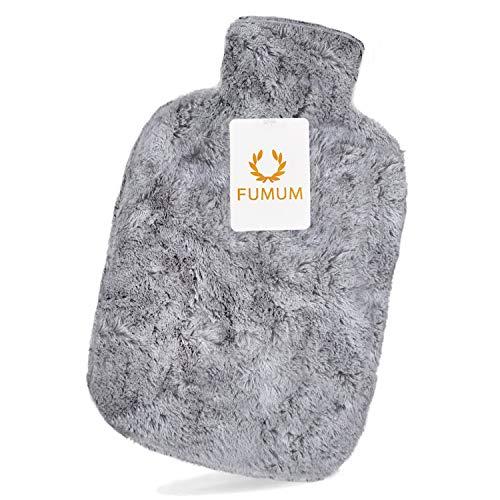FUMUM Premium Wärmflasche mit Bezug, Weich Wärmflasche Klassik 2L mit Plüsch-Bezug,kein Geruch und Frei von Schadstoffen Grau Wärmflasche für Erwachsene Eltern Kinder (Grau)