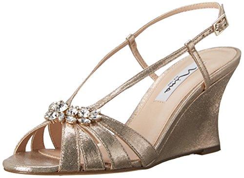 Nina Women's Viani Wedge Sandal, Taupe, 8 M US (Toe Nina Open Heels)