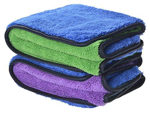 Profiqualität 720gsm Mikrofasertücher Auto Putztuch Auto Reinigungstuch Poliertücher (2 Pack 40cmx60cm(blue/green+blue/purple))
