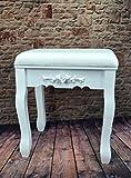 Hocker FLORAL Polsterhocker Sitzhocker antik Weiß barock EA für Frisiertisch Schminktisch