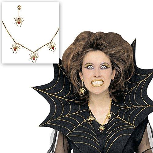 en Schmuck Spinnenkette und Spinnenohrringe gold/rot Hexenschmuck Hexe Accessoires Halloween Schmuck Hexe Zauberin Kostüm Zubehör ()