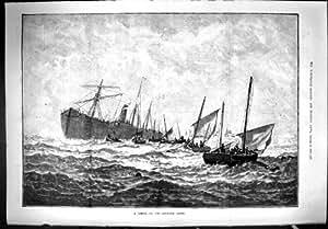 L'Épave Antique Goodwin de Bateau de l'Impression 1887 Ponce la Scène de Mer de Bateaux de Sauvetage