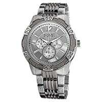 August Steiner Men's Large Fashion Watch - Sunburst Dial with Day of Week, Date, and 24 Hour Subdial on Silver Band - AS8058