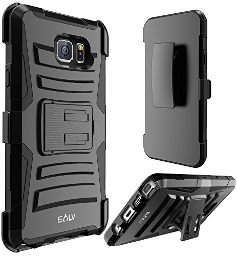 E Lv Galaxy Note 5 (Holster Defender) - Shock Proof / Impact Resistant Holster Protection With Belt Clip And Kickback Stand - Case For Samsung Galaxy Note 5  available at amazon for Rs.599