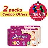Champs High Absorbent Premium Pant Style Diaper (Pack Of 2)(Free 2-Pair Socks)| Premium Pant Diapers | Premium Diapers | Premium Baby Diapers | Anti-rash And Anti-bacterial Diaper | (Small, 42)