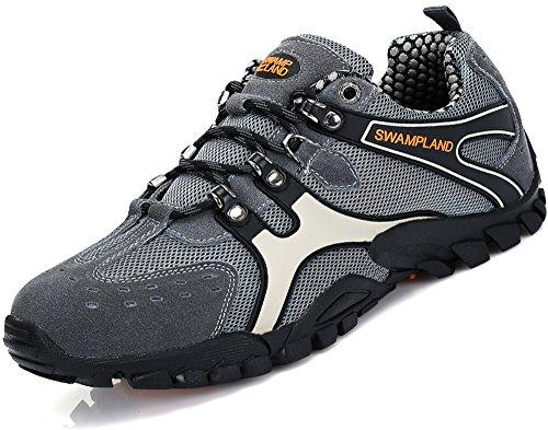 Hiking Trekking Schuhe Herren Wanderschuhe Männer Rutschfeste Atmungsaktiv Low Top Outdoor Sneaker Grau, 39 EU