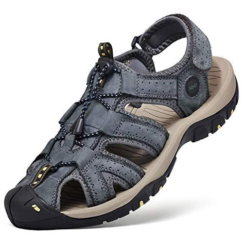 FLARUT Sandali Estivi Uomo Esterni PelleTraspirante Sandali Sportivi Scarpe da Trekking Passeggiata Fisherman Casual Sneakers Antiscivolo(Blau B,44)