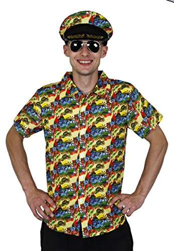 HAWAIIHEMD+Hut+Aviator Brille=KURZÄRMELIGEs Hemd IN 5 VERSCHIEDENEN GRÖSSEN+4 Fasching Karneval Hula Sommer Party=GELB-XXLarge