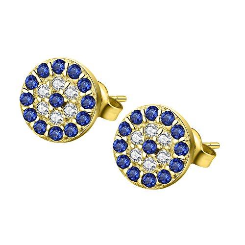 Damen Auge (Kaletine Blau Böser Auge Zucht Ohrringe Sterling Silber Ohrstecker Hamsa Ohrhänger 6x6mm mit Zirkonia Charme)