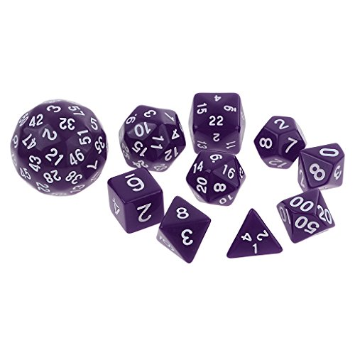 Phenovo 10 Pieces Digital Dices Multi-sided Dice Set for D&D TRPG KTV Party Fun Board Games Playing Game Dice Party Supplies Gift - purple