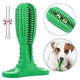 Litthing Hundezahnbürste Stick Silicon Pet Zahnbürste Puppy Zahnpflege Bürsten Zahn von Hund Zahnreinigung Kauspielzeug für Hunde Geschenk für Haustiere Liebhaber (Mittel, Grün)