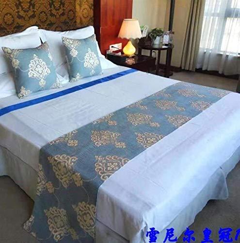 QLZQCQ Bettläufer Bett Renner Bettschal Neue Moderne einfache Home Hotel Bett Flagge Bett Schwanz B & B Bettdecke,Chenille-Krone 1,50 * 50cm Kissenbezug -