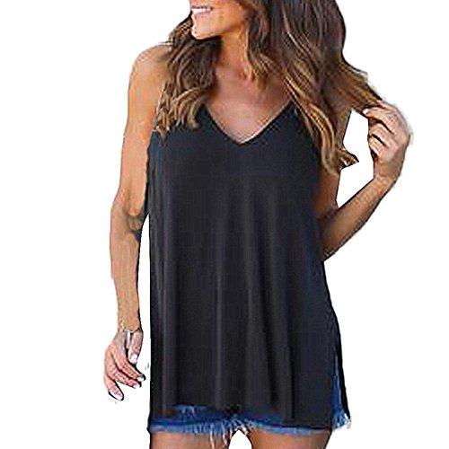 CYBERRY.M Débardeurs Femme Casual Été Sans Manches Loose T-shirt Blouse de Plage Top (L, Noir)