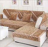 QWER Sofabezug L Form Sofa Bezug Winter U Form 2/3/4 Sitz Dicke Flanell Rose Hussen Mode Rutschfeste Sofabezug, Coffee, 110 * 210cm