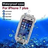 Cover impermeabile per iPhone 7plus/8plus bianca, custodia da immersione fino a 130 piedi/40 metri sott'acqua subacquea da 5.5 pollici
