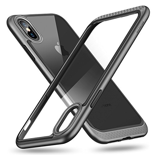 Esr cover iphone xs/ iphone x, custodia con telaio resistente con cuscinetto interno flessibile [antiurto,anti scivolo,antigraffio] [protezione rinforzata per fotocamera] [protezione sul retro in vetro] per apple iphone xs/x da 5.8 pollici.