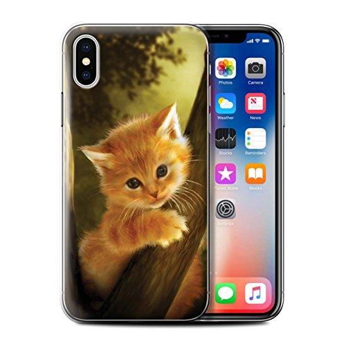 Offiziell Elena Dudina Hülle / Case für Apple iPhone X/10 / Waldpaar/Hase Muster / Die Tiere Kollektion Der Mutige/Kätzchen