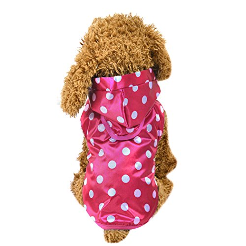 MIOIM Wasserdicht Regenjacke Punkt Hunde Welpen Katze Regenmantel Hundemantel Hundejacke Reflective mit Kapuze Pink S