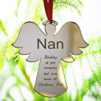 Engraved Gift Bauble Xmas Tree Decoration Angel Shape Gift For Mum Dad Nan Grandad Grandma Him Her - Christmas Bauble - L1124