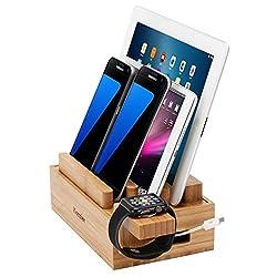 iCozzier Mini Bambus iWatch Ständer Multifunktionelle Ladestation und Kabel Organizer Docking Stationfür Apple Watch, iPhone, iPad, Smartphones, Tablets