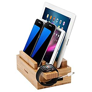 iCozzier® Mini Bamboo Watch Stand Universal Multi-device Charging Station and Cord Organizer Stand Dock for Apple Watch, iPhone, iPad, Samsung Note, Nexus, Samsung Tab, Smartphones, Tablets