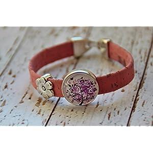 Armband aus Kork Vegan Blume Blüte Herz Glas